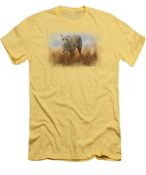 Cheetah In The Field Men's T-Shirt (Athletic Fit)