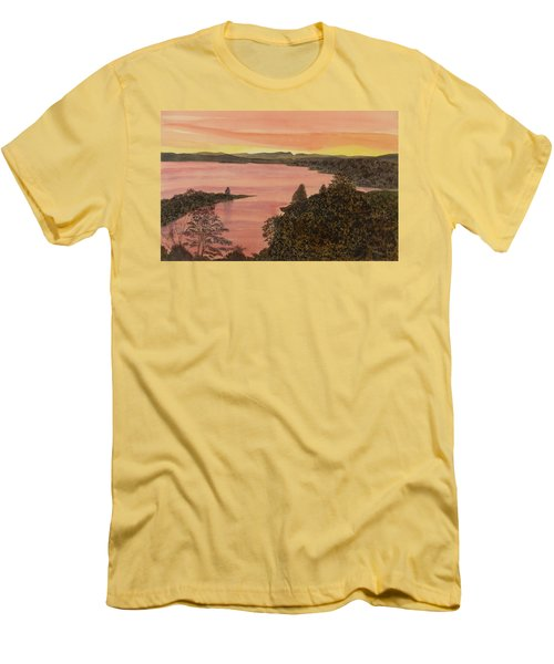 Men's T-Shirt (Athletic Fit) featuring the painting Cherokee Lake - Golden Glow by Joel Deutsch