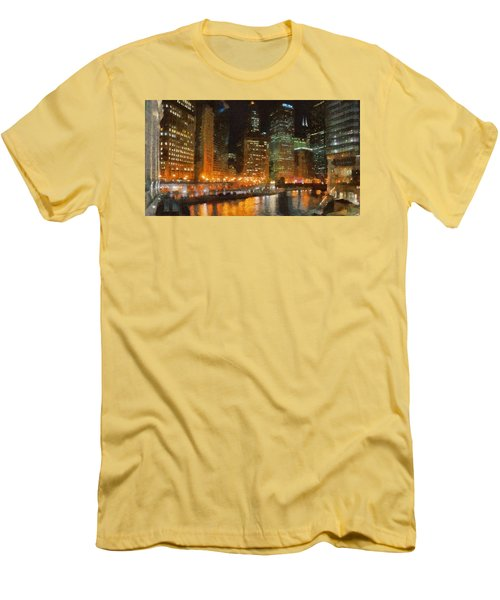 Chicago At Night Men's T-Shirt (Slim Fit) by Jeff Kolker