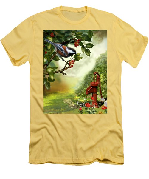 Chickadee Visiting The Water Pump Men's T-Shirt (Athletic Fit)