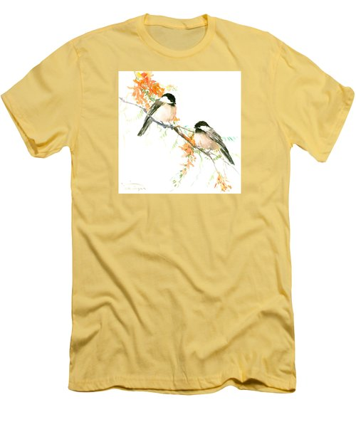 Chickadees And Orange Flowers Men's T-Shirt (Athletic Fit)