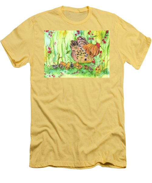 Men's T-Shirt (Slim Fit) featuring the painting Chicken Family by Cathie Richardson