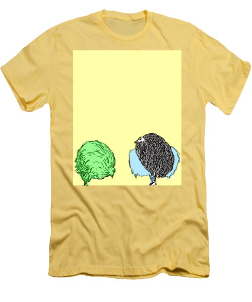 Men's T-Shirt (Slim Fit) featuring the painting Chickens Three by Jason Tricktop Matthews