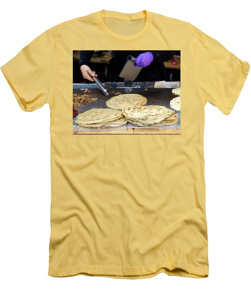 Men's T-Shirt (Slim Fit) featuring the photograph Chinese Street Vendor Cooks Onion Pancakes by Yali Shi