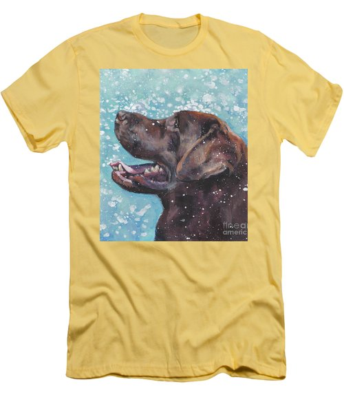 Men's T-Shirt (Slim Fit) featuring the painting Chocolate Labrador Retriever by Lee Ann Shepard