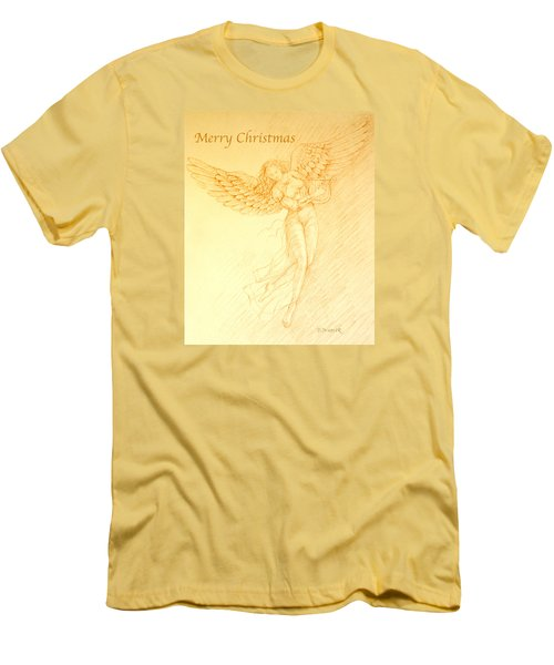 Christmas Angel With Harp Men's T-Shirt (Slim Fit) by Deborah Dendler