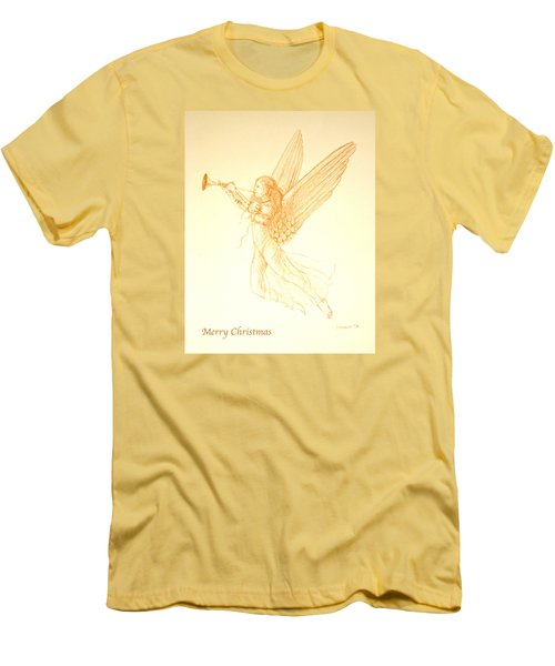 Christmas Angel With Trumpet Men's T-Shirt (Slim Fit) by Deborah Dendler