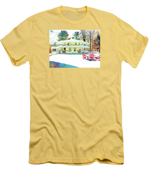 Christmas At The Hexagon House Men's T-Shirt (Slim Fit) by LeAnne Sowa