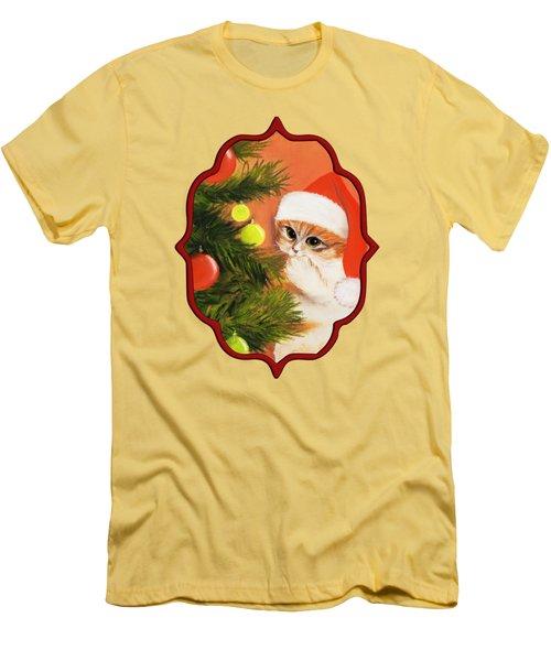 Christmas Kitty Men's T-Shirt (Slim Fit) by Anastasiya Malakhova