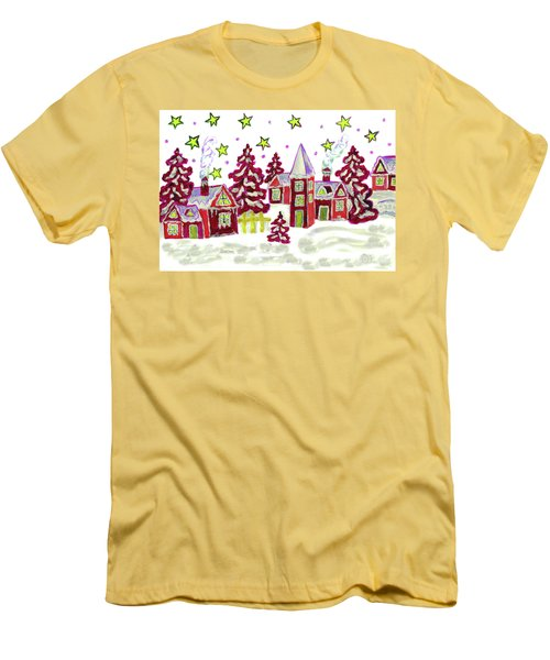Christmas Picture In Red Men's T-Shirt (Slim Fit) by Irina Afonskaya