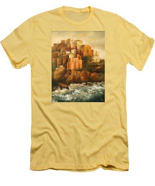 Cinque Terre Lerici Italia Painting Men's T-Shirt (Slim Fit) by Vali Irina Ciobanu