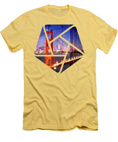 City Art Golden Gate Bridge Composing Men's T-Shirt (Slim Fit) by Melanie Viola