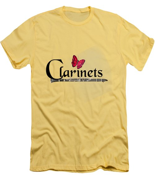 Clarinets And Butterfly Men's T-Shirt (Slim Fit) by M K  Miller