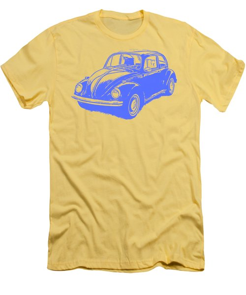 Classic Vw Beetle Tee Blue Ink Men's T-Shirt (Slim Fit)