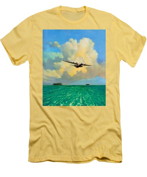 Clipper Over The Islands Men's T-Shirt (Slim Fit) by David  Van Hulst