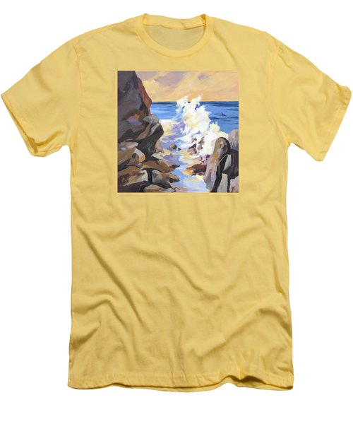 Men's T-Shirt (Slim Fit) featuring the painting Coastal Edge by Rae Andrews