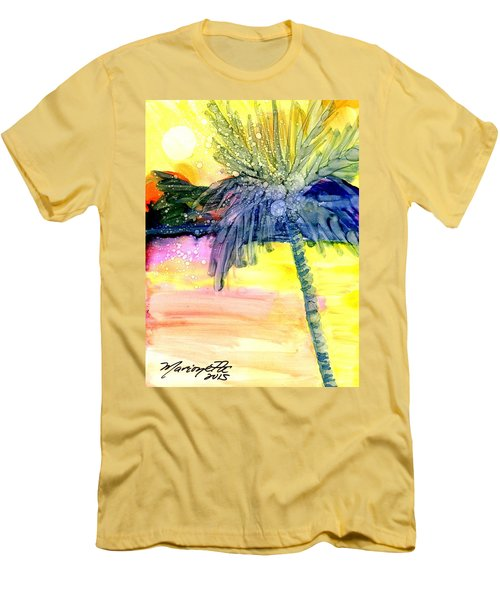 Men's T-Shirt (Slim Fit) featuring the painting Coconut Palm Tree 3 by Marionette Taboniar