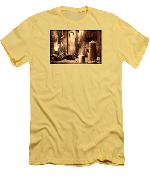 Coffee At The Cabin Men's T-Shirt (Slim Fit) by American West Legend By Olivier Le Queinec