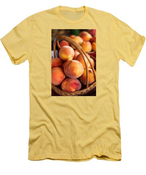 Colorado Peaches In Basket Men's T-Shirt (Slim Fit) by Teri Virbickis