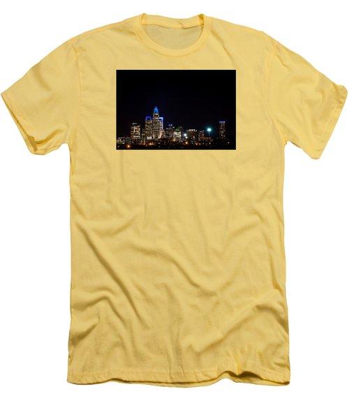 Colorful Charlotte, North Carolina Skyline Men's T-Shirt (Slim Fit) by Serge Skiba