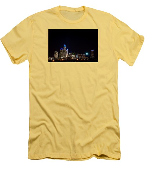 Colorful Charlotte, North Carolina Skyline Men's T-Shirt (Athletic Fit)