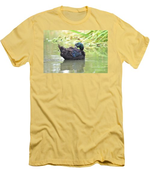 Men's T-Shirt (Slim Fit) featuring the photograph Colorful Duck by Laurianna Taylor