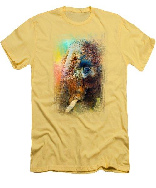 Colorful Expressions Elephant Men's T-Shirt (Slim Fit) by Jai Johnson