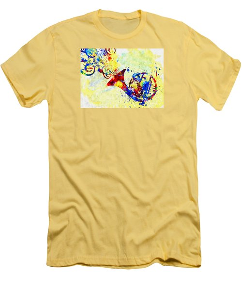 Colorful French Horn Men's T-Shirt (Slim Fit) by Olga Hamilton