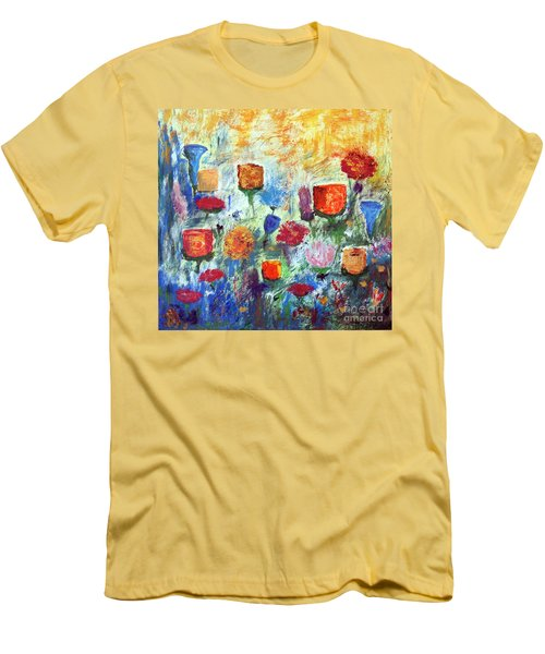 Men's T-Shirt (Slim Fit) featuring the painting Colorful Garden by Haleh Mahbod