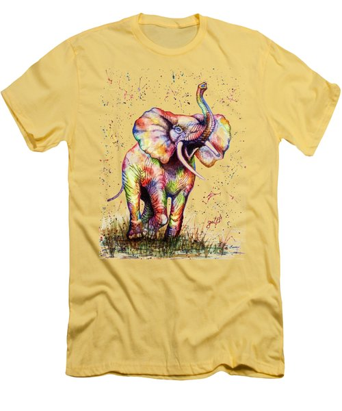 Men's T-Shirt (Slim Fit) featuring the painting Colorful Watercolor Elephant by Georgeta Blanaru