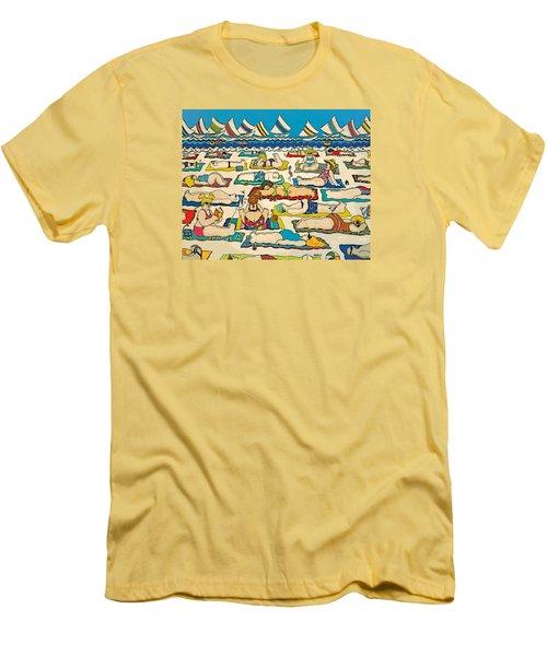 Colorful Whimsical Beach Seashore Women Men Men's T-Shirt (Slim Fit) by Rebecca Korpita