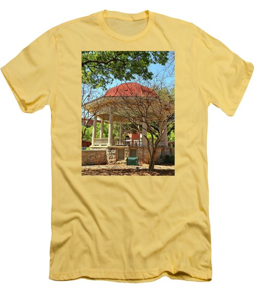 Comal County Gazebo In Main Plaza Men's T-Shirt (Slim Fit) by Judy Vincent