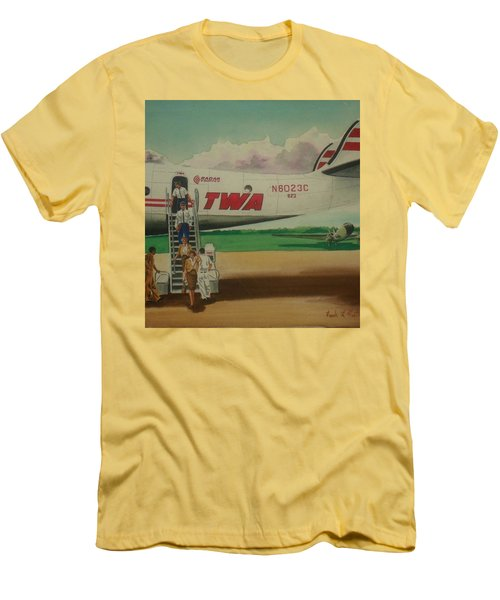 Connie Crew Deplaning At Columbus Men's T-Shirt (Slim Fit) by Frank Hunter