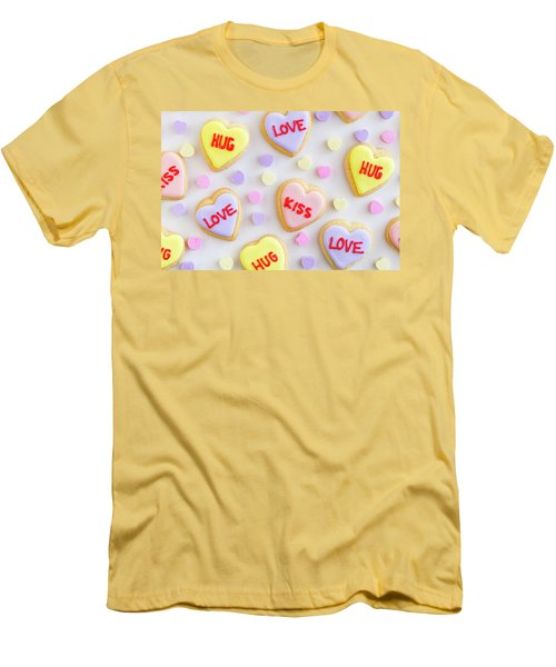 Men's T-Shirt (Slim Fit) featuring the photograph Conversation Heart Cookie Love by Teri Virbickis