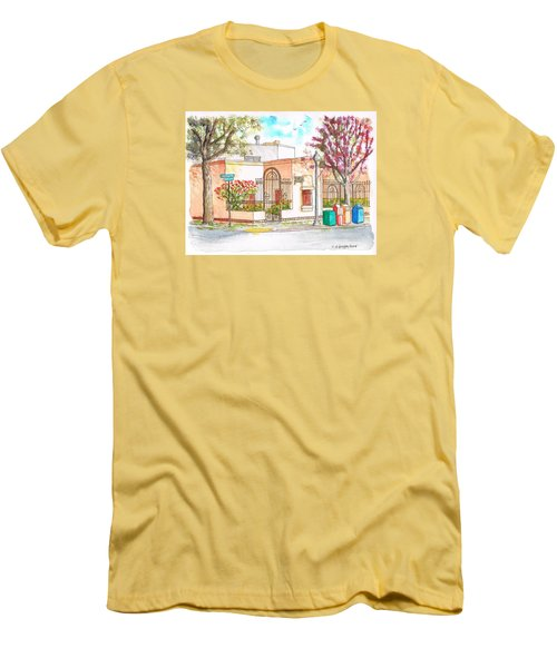 Corner With Bougainvillas In San Luis Obispo, California Men's T-Shirt (Slim Fit) by Carlos G Groppa