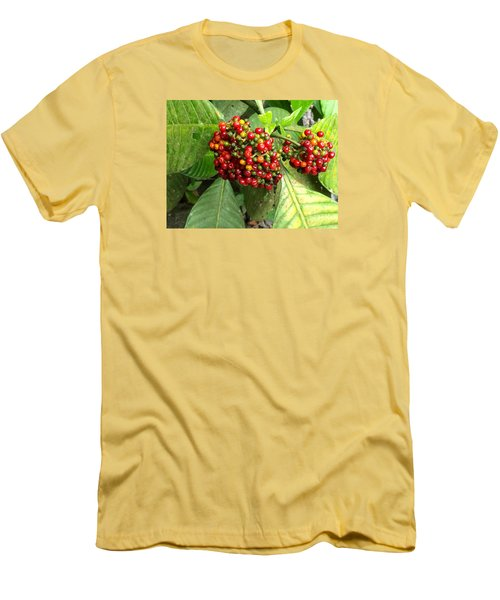 Men's T-Shirt (Slim Fit) featuring the painting Costa Rican Berries by Angela Annas