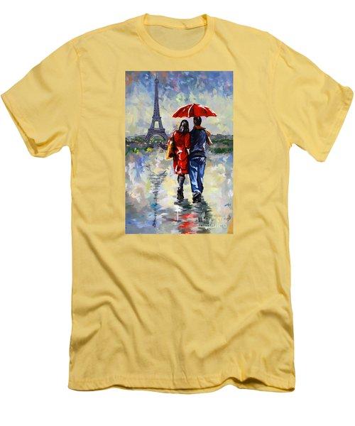 couple walking in the rain Paris Men's T-Shirt (Athletic Fit)