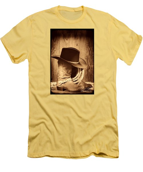Cowboy Hat On Boots Men's T-Shirt (Slim Fit) by American West Legend By Olivier Le Queinec