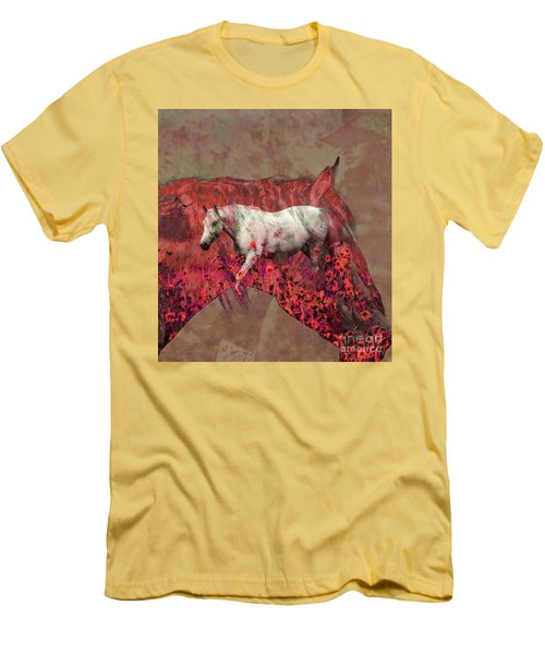 Cowgirl And Her Horses Men's T-Shirt (Athletic Fit)
