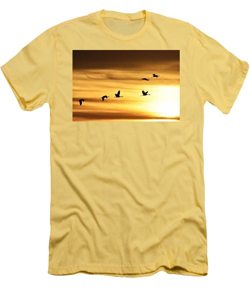 Men's T-Shirt (Slim Fit) featuring the photograph Cranes At Sunrise 2 by Larry Ricker