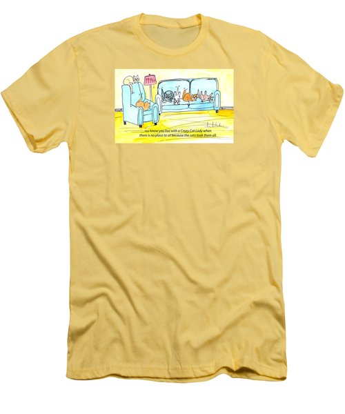 Men's T-Shirt (Slim Fit) featuring the painting Crazy Cat Lady 0004 by Lou Belcher
