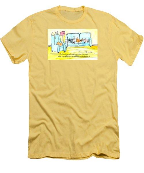Crazy Cat Lady 0004 Men's T-Shirt (Slim Fit) by Lou Belcher
