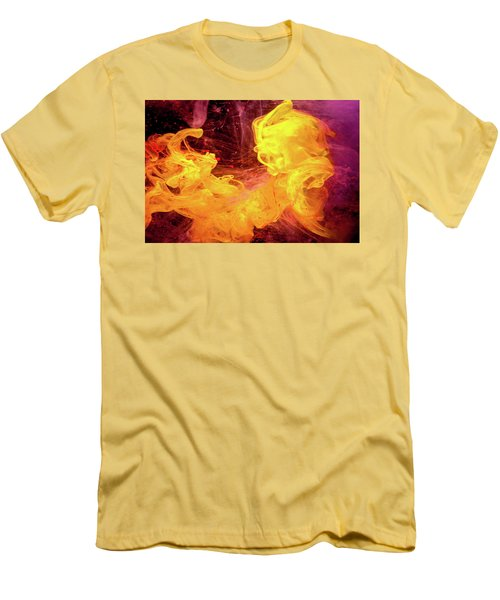 Crazy Chase - Purple And Yellow Abstract Photography Men's T-Shirt (Slim Fit) by Modern Art Prints