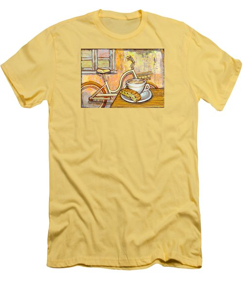 Cream Electra Town Bicycle With Cappuccino And Biscotti Men's T-Shirt (Slim Fit) by Mark Jones