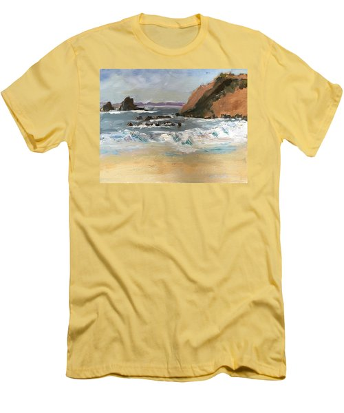 Crescent Beach At Laguna  Men's T-Shirt (Slim Fit) by MaryAnne Ardito