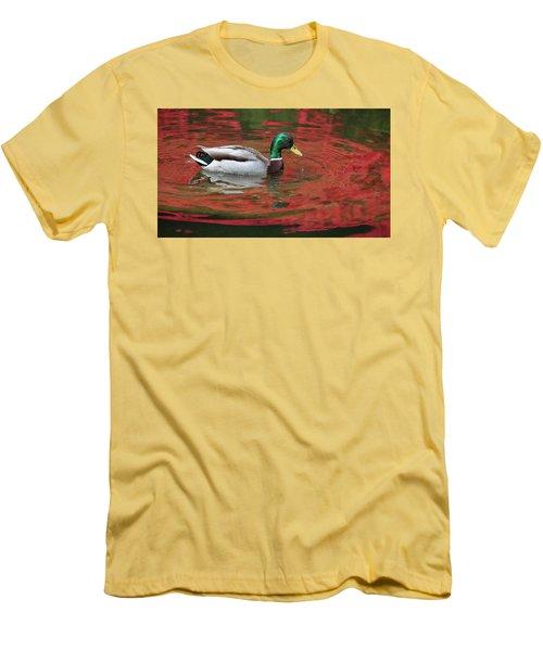 Men's T-Shirt (Slim Fit) featuring the photograph Crimson Reflections by Elvira Butler