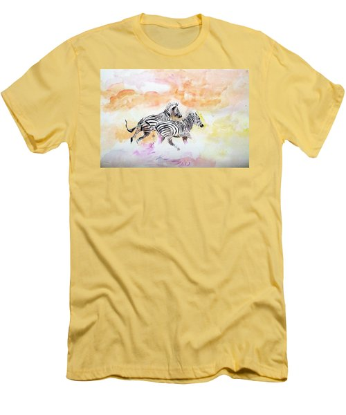 Crossing The River. Men's T-Shirt (Slim Fit) by Khalid Saeed