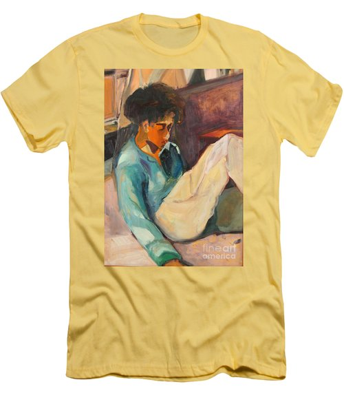 Men's T-Shirt (Slim Fit) featuring the painting Crystal by Daun Soden-Greene