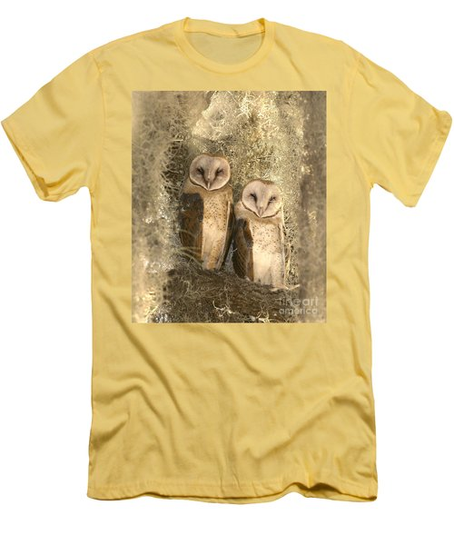 Curious Barn Owls Perched Men's T-Shirt (Athletic Fit)