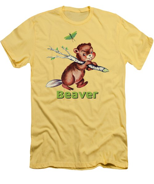 Cute Baby Beaver Pattern Men's T-Shirt (Slim Fit) by Tina Lavoie